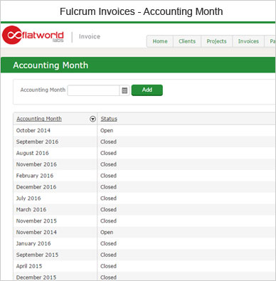 Fulcrum Invoice Accounting Month