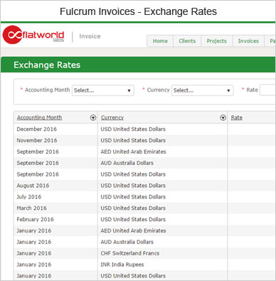 Fulcrum Invoice Exchange Rates