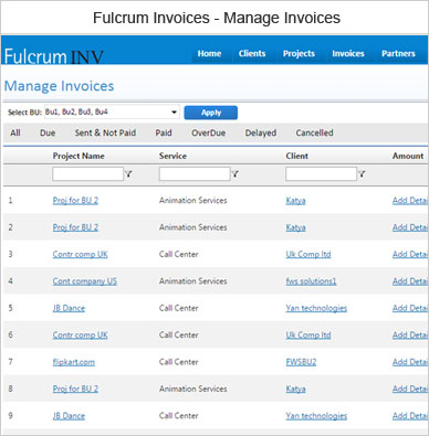 Fulcrum Invoice Manage Invoices
