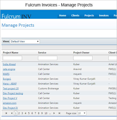 Fulcrum Invoice Manage Projects