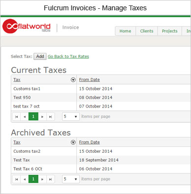 Fulcrum Invoice Manage Taxes