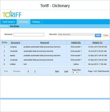 toriff dictionary
