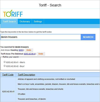 toriff search