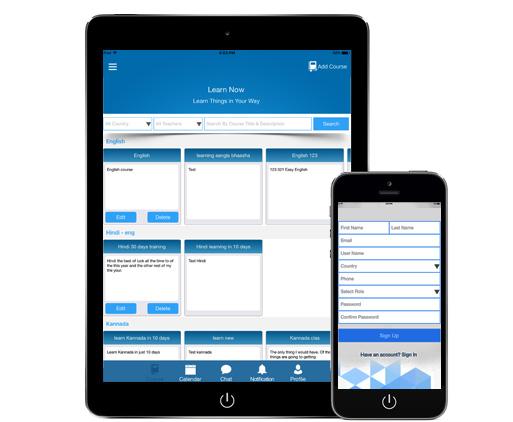 e-Learning App for iOS Register Interface