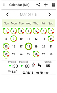 Mobile App to Provide BP Readings Calendar
